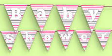 Baby Shower Bunting Pink Themed