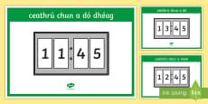 Digital 24 Hour Clocks   Quarter to Display Posters Gaeilge