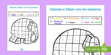 Colorea con números con Elmer