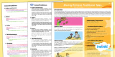 PlanIt - D&T KS1 - Moving Pictures Traditional Tales Planning Overview CfE