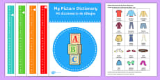 Picture Dictionary Clothes Word Cards Pack Spanish Translation English / Spanish - Inglés / Español