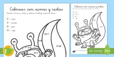 Ficha de actividad: Colorear con sumas y restas - Monstruos