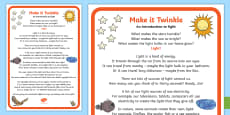 Make It Twinkle! - an Introduction to Light A2 Display Poster