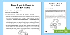 * NEW * Northern Ireland Linguistic Phonics Stage 5 and 6, Phase 4b, 'aw' Sound Text Activity Sheet