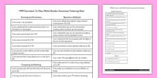 1999 Curriculum 1st Class Maths Number Assessment Targets Colouring Sheet