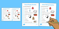 School Ready Checklist Primary Transition Sheet