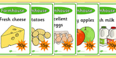 Farm Shop Role Play Display Posters