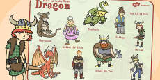 How to Train Your Dragon Word Mat