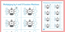 Multiplying by 4 and 5 Function Machines