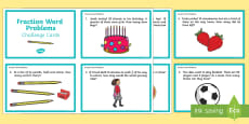 Year 2 Fractions Word Problems Challenge Cards
