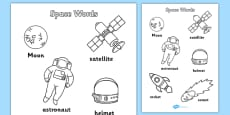 Space Words Colouring Sheets