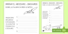 Ficha para ordenar el abecedario: Los dinosaurios
