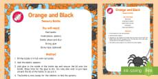 * NEW * Orange and Black Sensory Bottle