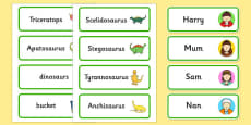 Word Cards to Support Teaching on Harry and the Bucketful of Dinosaurs