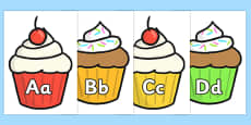 Alphabet on Multicolour Cupcakes Display Signs