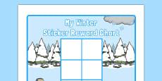 Winter Themed 0-10 Sticker Stamp Reward Chart