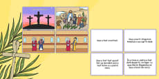 Easter Story Matching Sequencing Cards Colour Romanian