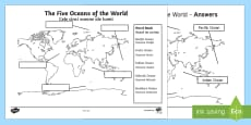 The Five Oceans Labelling Map Activity Sheet English/Romanian