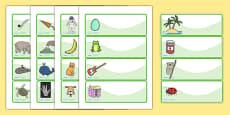 Editable Drawer - Peg - Name Labels (Set 1) - Green