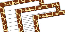 Giraffe Pattern Portrait Page Border