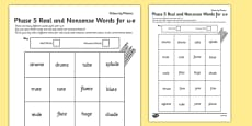 Phase 5 'u-e' Split Digraph Colour by Phoneme Real and Nonsense Words