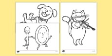 Hey Diddle Diddle Colouring Sheets