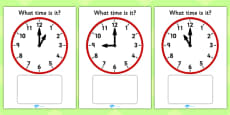 Clock Matching Game - O' Clock