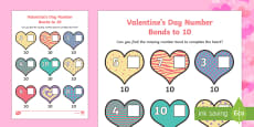 Valentine's Day Hearts Number Bonds to 10 Activity Sheet