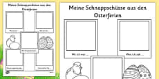 Easter Holiday Snapshots Writing Frame German