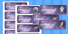 Space Topic Word Cards