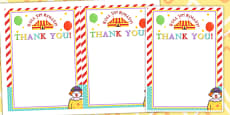 Circus Themed Birthday Party Thank You Cards