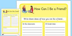 KS3 How Can I Be a Friend? Worksheet