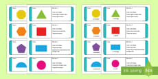 * NEW * KS1 2D Shape Riddle Loop Cards