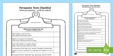 Persuasive Texts Checklist Romanian/English