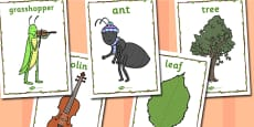 The Ant and the Grasshopper Word Display Posters