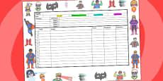 Superhero Themed Editable Medium Term Planning Template