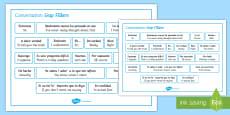 Spanish Conversation Gap Fillers Word Mat