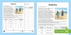 Budgeting for a Summer Holiday Money Activity Sheet