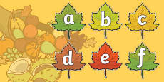A-Z Alphabet on Autumn Leaves