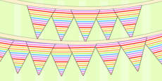 Rainbow Themed Birthday Party Patterned Bunting