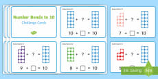 Number Shapes Number Bonds to 10 Activity Challenge Cards