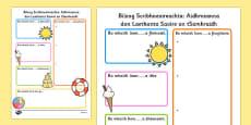 Summer Holiday Hopes Write Up Worksheet Gaeilge
