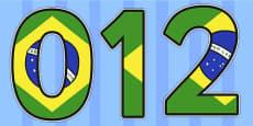 Brazilian Flag Display Numbers