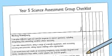 2014 Curriculum Year 5 Science Assessment Group Checklist