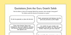 Guru Granth Sahib Quotes Discussion Activity