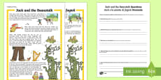 Jack and the Beanstalk Differentiated Reading Comprehension Activity English/Italian