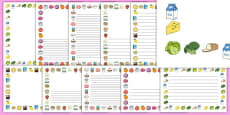 Food Themed A4 Page Borders