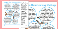 Home Learning Challenge Sheet Reception FS2 to Support Teaching on Stick Man