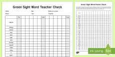 Green Reading Sight Words Checklist