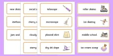 Word Medial SC SK Word Cards Three Syllable Words